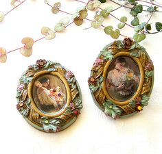 Miniatures  A set of 2 miniature pictures of romantic by Mintook,