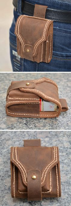 Handmade Leather Cigarette Packet Holder Zippo Case-smoking is such an ugly habit but this is still stylish.