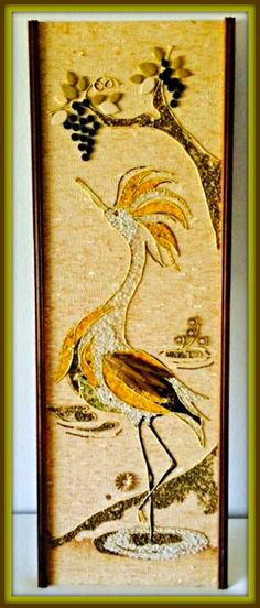 """Here is a beautiful Picturesque Vintage Gravel Mosaic Artwork of a crane done in the mid century with lovely colors for the crane this piece is large and well made and measures 36"""" x 12"""" inches."""