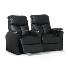 TheOctane Bolt XS400, shown here as a row of 2 seats straight in black top grain leather and power recline,offers aspace saving designalong with incredible lower lumbar support. The Bolt offers incred