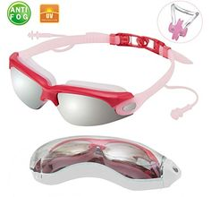 Anti Fog Swimming Goggles with Connected Ear Plug Mirrored Glass Material Bundle With A Bonus Gift Nose Clip and Protector Case RedPink *** You can get more details by clicking on the image. Note: It's an affiliate link to Amazon