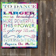D.I.Y. Subway Art Canvas #Dance #quote