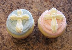 cross cupcakes..that's be cute for a baby's dedication or something!