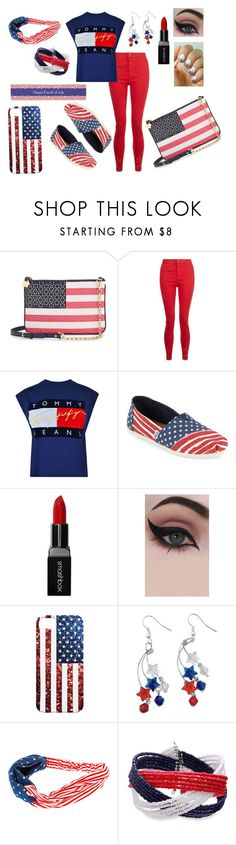 """""""Proud to be an American!!!"""" by etsyshopgirl ❤ liked on Polyvore featuring Draper James, Tommy Hilfiger, TOMS, Smashbox and Concrete Minerals"""