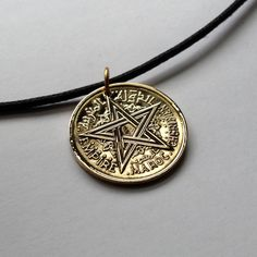 1945 Morocco 1 Franc coin pendant charm necklace jewelry World War 2 pentagram 5-pointed star Arab Islamic Maroc Moroccan golden No.000497 by acnyCOINJEWELRY on Etsy