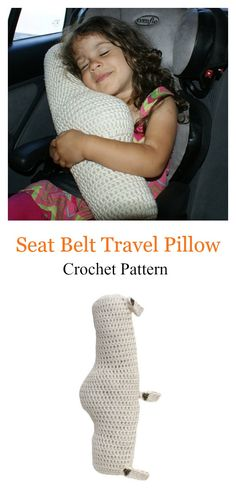 Seat Belt Travel Pillow Crochet Pattern #crochetpattern #pillows