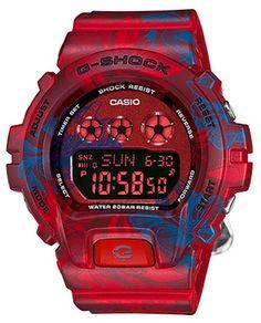 e03232b6d84 Petite montre casio G-Shock rouge ultra tendance avec ces motifs floraux  bleus ! http