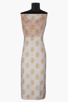 #Ada #handembroidered #Cream Printed #Cotton #Chikan #UnstitchedKurta- A313988 #embroidered with #Chikanstitches Bakhiya, Phanda and Murri Chikan stitches using peach and fawn cotton thread  #Adachikan #chikankari #handcrafted #chikankariembroidery #lakhnavi
