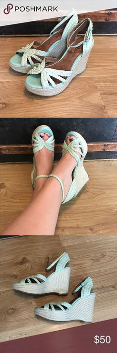 """Lucky Brand mint green wedges EUC worn once. They are so adorable and comfy just a little too high for my taste. 4 1/2"""" heel with a 1 1/2"""" platform. From a smoke free home. Lucky Brand Shoes Wedges"""