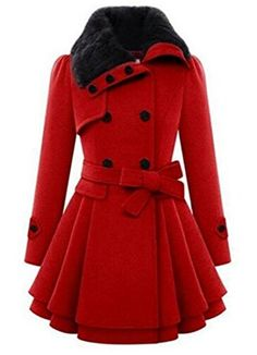 Anermy Women Faux Fur Lapel Double Breasted Thick Wool Trench Coat Jacket Winter