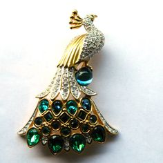 RESERVED  Swarovski Peacock Brooch  Signed with Swan Logo by Xulha