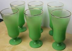 6 Vintage BLENDO Retro Green Frosted Glass Sundae/Parfait Cups Gold Trim Rims