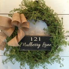 Custom wreath with address sign. All wood. No vinyl. Front door wreath, greenery wreath, distressed sign, farmhouse décor, fixer upper décor, burlap Order at www.etsy.com/shop/MercantileatMulberry