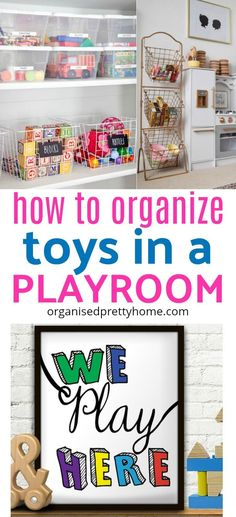 Is the mess and clutter of the kids' toys driving you crazy? Here's 10 organizing ideas. Storage solution. Best toy organization ideas for kids. Children 's playroom, living room or bedroom. Shelves. Baskets. Declutter #playroom #playroomdecor #playroomi