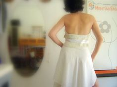 Halter neck white linen silk dress by bedilaeleni on Etsy, $123.00