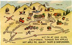 Map of Oak Glen, California - Apple Country - Original Painting by W. Palluth - Near Yucalpa Oak Glen California, California Cool, Cherry Valley, Riding Mountain, Glens Falls, Mini Doughnuts, Pumpkin Patches, Pictorial Maps, Cali Girl