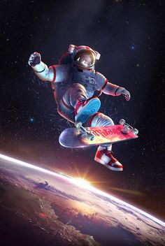 Космо-пост космонавт, арт, космос, гифка, длиннопост