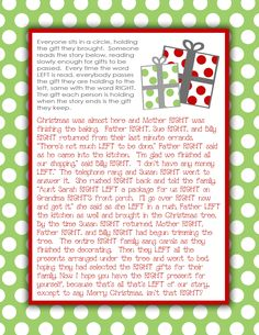 The Right family Gift Exchange Story {Free Printable} - I've done this at White Elephant Gift Parties & it was so fun. Christmas Gift Exchange Games, Xmas Games, Holiday Games, Christmas Party Games, Christmas Activities, Christmas Printables, Christmas Traditions, Holiday Fun, Party Activities