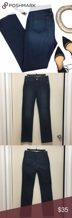 """Not Your Daughter Blue Shimmery Straight Jeans Like new condition. Its very hard to capture on camera but the jeans have a shimmery glittery gold in the fabric. Length: 42"""" Waist: 14.5"""" Inseam: 32.5"""" Not Your Daughter Jeans Jeans Straight Leg"""