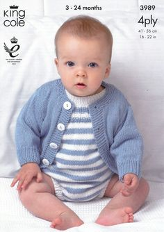Cardigans and Romper Suits in King Cole Bamboo Cotton 4 Ply (3989)   Deramores