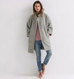 Manteau tweedé Femme gris clair - Promod