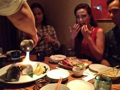 The Little Mermaid watching a friend being blowtorched at dinner. Sierra boggess, ramin karimloo and lea salonga