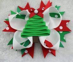 Girls Boutique Christmas Hair Bow Handmade Green Tree-- Make this Diy Hair Bows, Making Hair Bows, Diy Bow, Holiday Hair Bows, Christmas Bows, Xmas, Boutique Bows, Girls Boutique, Barrettes