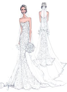 Illustrative Moments   custom bridal gown illustration  wedding gift   FRONTAL WITH BACK VIEW