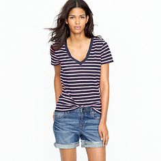 I already have several navy/white stripe combos. But this is navy and PINK. (J.Crew vintage cotton v-neck tee in bold stripe.)