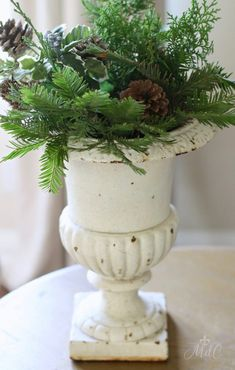 A Casual Chic French Christmas Tour - Maison Style - Binki Borg - French French Christmas Decor, Shabby Chic Christmas Decorations, Christmas Urns, Christmas Tablescapes, Rustic Christmas, Xmas Decorations, Simple Christmas, Christmas Home, Christmas Ideas