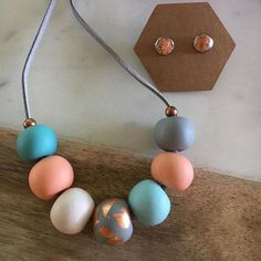 +++Lanook  polymer Clay Necklace .... Loving these grey/copper  earrings $8 each  Handmade polymer clay necklace on flat grey leather $24.00 length 75cm  #polymerclay #copper#necklace#earrings#summerstyle #beads #leather #aqua #love