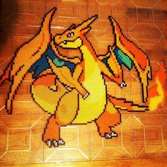 sandylandya@outlook.es  Mega Charizard Y Pokemon Perler Bead Wall by BrizzlePizzlePerlerz