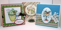 The Buzz: It's Beginning to Look A Lot Like Christmas! Trio of cards featuring Christmas Cupcake, Caroling Snowmen and Chubby Snowbird-Bluebird pre-colored digital images from #Meljen's Designs
