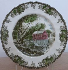 johnson-Bros-Friendly-Village-10-1-2-Dinner-Plate-The-Old-Mill & Vintage Johnson Brothers Friendly Village Buffet Dinner Plates w ...