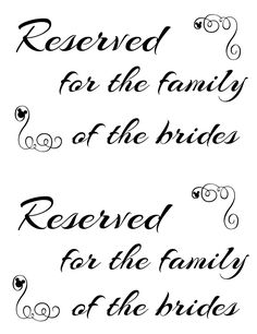 The wonderful Free Printable Reserved Seating Signs For Your Wedding Inside Reserved Cards For Tables Templates digital photography below, is … Reserved Table Signs, Reserved Wedding Signs, Reserved Seating, Wedding Planning Binder, Wedding Planner, Wedding Ceremony Seating, Wedding Signage, Sign Templates, Wedding Ideas