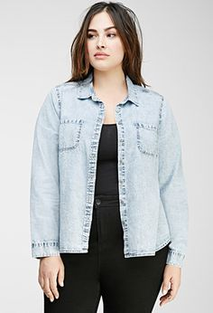 Mineral Wash Chambray Shirt | Forever 21 PLUS - 2000055051