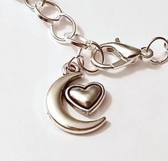 HEART & CRESCENT MOON   Love You To The Moon & Back Symbol Silver Charm Bracelet #Unbranded
