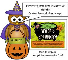 Come on by and hop along for free resources!  Oct 18-21.  The K-1 group has 44 freebies waiting for you!  2-3 and 4-5 groups hopping too!  Find all the info on my FB page https://www.facebook.com/crayonscutiescommoncore