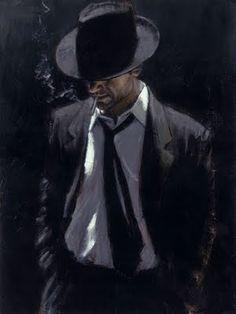 the man in the black suit- Fabian Perez Fabian Perez, Suit Drawing, Painting & Drawing, James Ellroy, Realism Art, Renaissance Art, Rembrandt, Black Art, Chicano