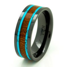 Men's Women's Koa Wood Wedding Band with Turquoise by PCHJewelers