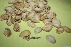 MATERIALS NEEDED Pista shells. Collect enough shells. Take a small square card board piece for each flower. Shell Flowers, Flower Mirror, Square Card, Shell Art, Wash N Dry, Shells, Arts And Crafts, Kitchen, Conch Shells