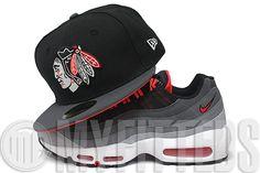 Chicago Blackhawks Jet Black Carbon Graphite Challenge Red Air Max 95 Matching New Era Hat