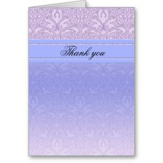 Luxury Blue Damask Thank you card