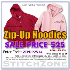 StitchZone Zip-Up Hoodies Sale Get a Hanes or Port for $25, that's a $10 savings.  Enter Code: ZIPUP2514 expires: 09-15-14  #stitchzone #greeklife #sales #discounts #greek #apparel #sorority #fraternity #specials