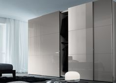 Sliding wardrobe could be done in similar laminate as found in kitchen - carrying on the notion for reflective and light filled services Wardrobe Door Designs, Wardrobe Design Bedroom, Closet Designs, Closet Bedroom, Wardrobe Bed, Built In Wardrobe, Sliding Wardrobe Doors, Sliding Door Panels, Appartement Design