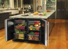 Kitchen island of enormous size with many built-in cupboards for fruits and vegetables The post The modern cooking island in the kitchen & 20 amazing ideas for kitchen design appeared first on Suggestions. Home Decor Kitchen, Diy Kitchen, Kitchen Storage, Kitchen Dining, Island Kitchen, Kitchen Organization, Organization Ideas, Fridge Storage, Kitchen Layout