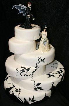 white wedding cake dark themed - Different Round Cake Design Gothic Wedding Cake, Gothic Cake, Vampire Wedding, White Wedding Cakes, Cake Wedding, Halloween Wedding Cakes, Funny Wedding Cakes, Wedding Humor, Wedding Cake Toppers