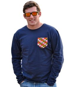 Navy long sleeve pocket tee