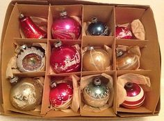 Vintage Christmas Glass Ornaments Shiny Brite Made In USA Indent Stencil Stripe