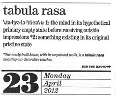 """Tabula Rasa: The idea by Locke that humans are born as a """"blank tablet"""" in which the environment influences an individual's understanding and beliefs."""